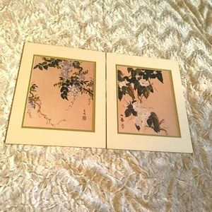 Set of Two Matted Japanese Floral Prints